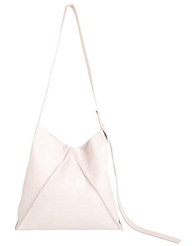 jasper shoulder bag in white pebbled leather