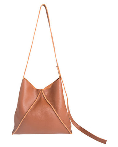 jasper shoulder bag in cognac pebbled leather