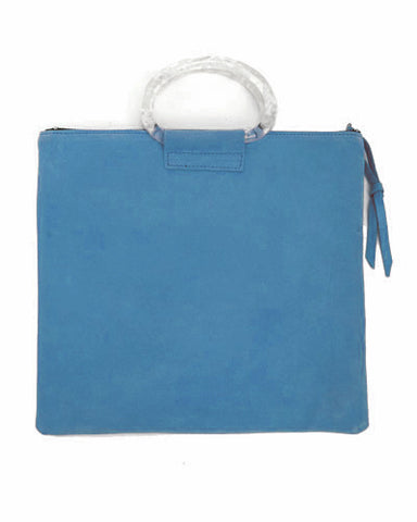 jolie clutch with white handles in ocean suede leather