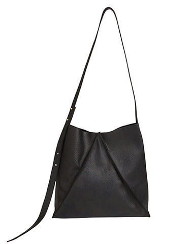 jasper shoulder bag in black pebble cow leather