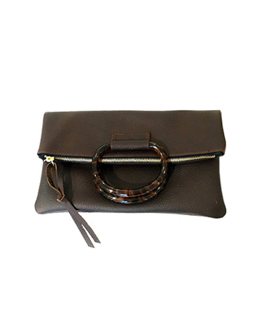 jolie clutch with resin handles in brown buffalo leather