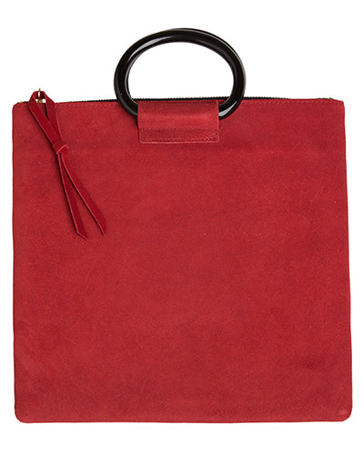 jolie clutch with resin handles in crimson suede leather