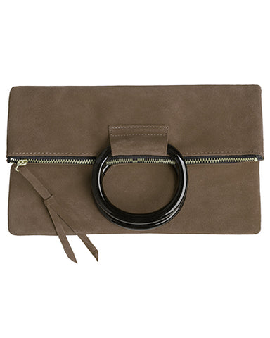 jolie clutch with resin handles in olive suede leather
