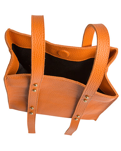 keira convertible strap tote in papaya pebble cowhide