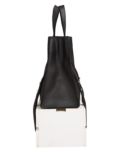 keira convertible strap tote in black buffalo leather