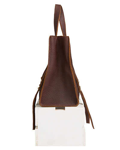 keira convertible strap tote in brown buffalo leather