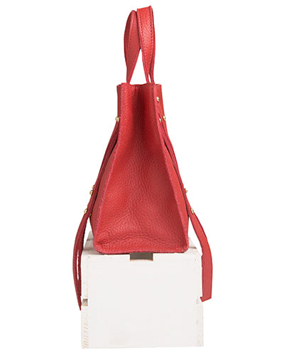 keira convertible strap tote in crimson buffalo leather