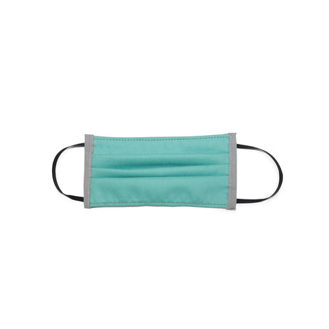 Kids Pleated Cotton Twill Mask in Teal