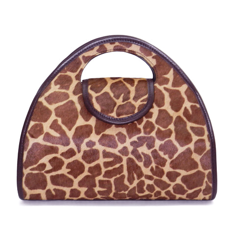 Kyla Cutout Satchel in Giraffe Haircow