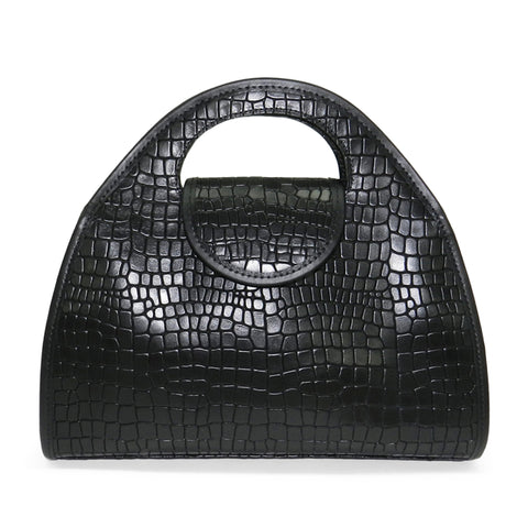 Kyla Cutout Satchel in Black Deep Cut Croco Leather