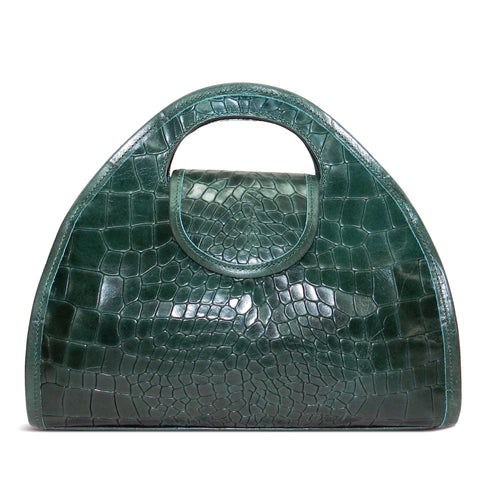 Kyla Cutout Satchel in Emerald Piccolo Croco Leather