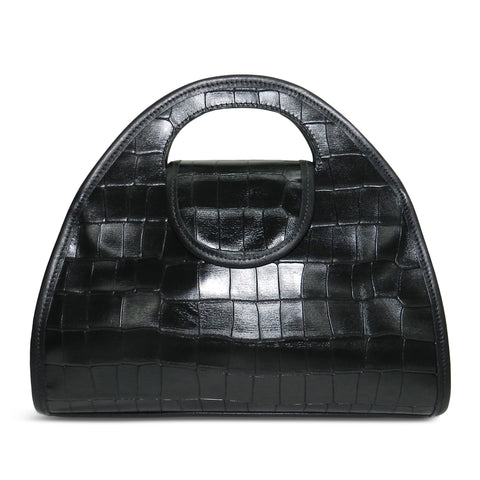 Kyla Cutout Satchel in Black Piccolo Croco Leather