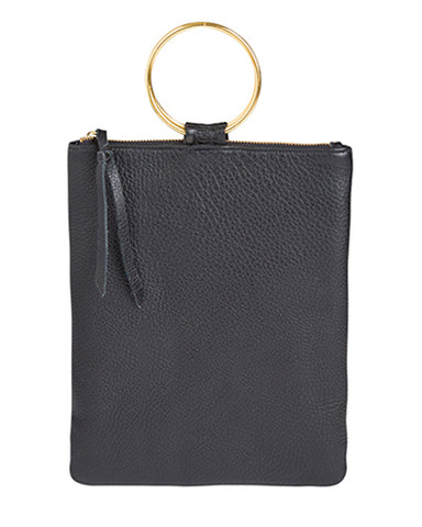 laine brass ring bag in black pebbled leather