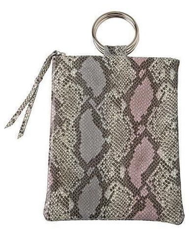laine silver ring bag in pink cobra cow leather