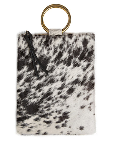 laine brass ring bag in black and white natural hair calf