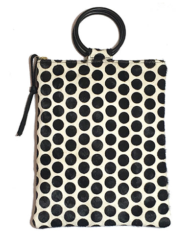 laine black metal ring bag in polka dot hair calf