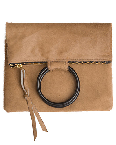 laine black metal ring bag in honey hair calf