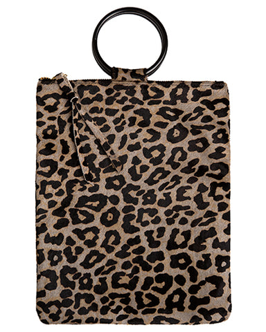 laine black metal ring bag in leopard hair calf
