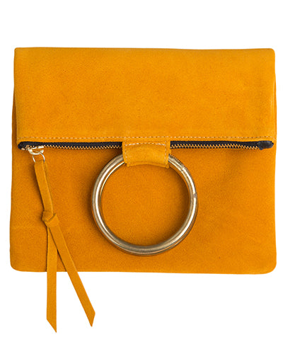 laine brass ring bag in marigold suede leather
