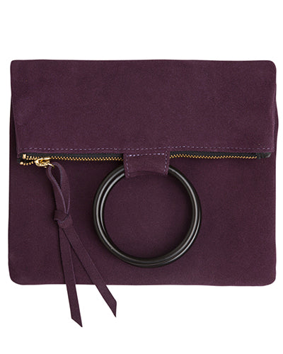 laine black metal ring bag in purple suede leather