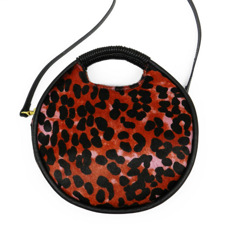 Luna Round Wrap Handle Crossbody in Pink Multi Leopard Hair