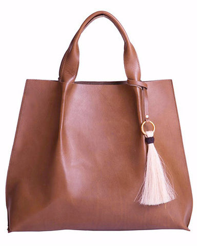 maggie tote in chestnut saddle leather with horsehair tassel
