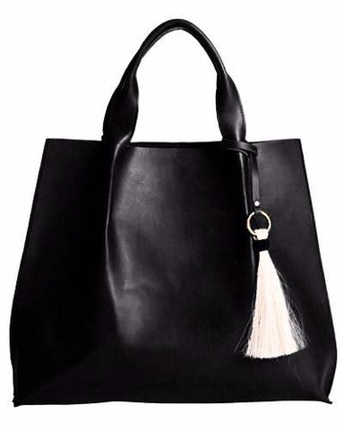 maggie tote in black saddle leather with horsehair tassel