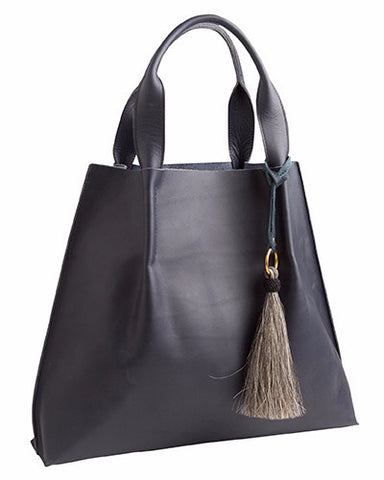 maggie tote in navy saddle leather with horsehair tassel
