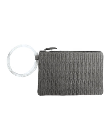 murphy bracelet clutch with frosted resin ring in grey woven cow leather