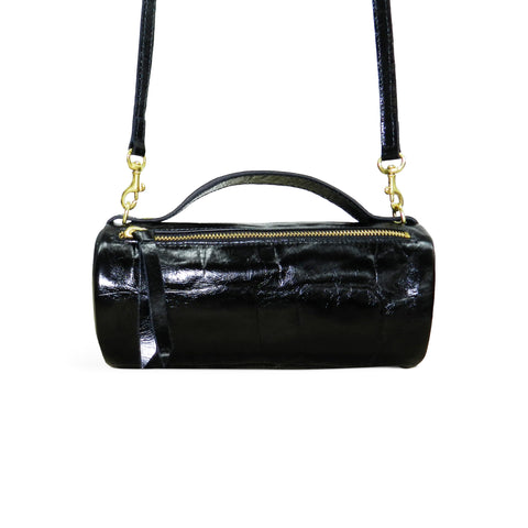 Mia Mini Crossbody Duffel in Black Grande Croco Cowhide