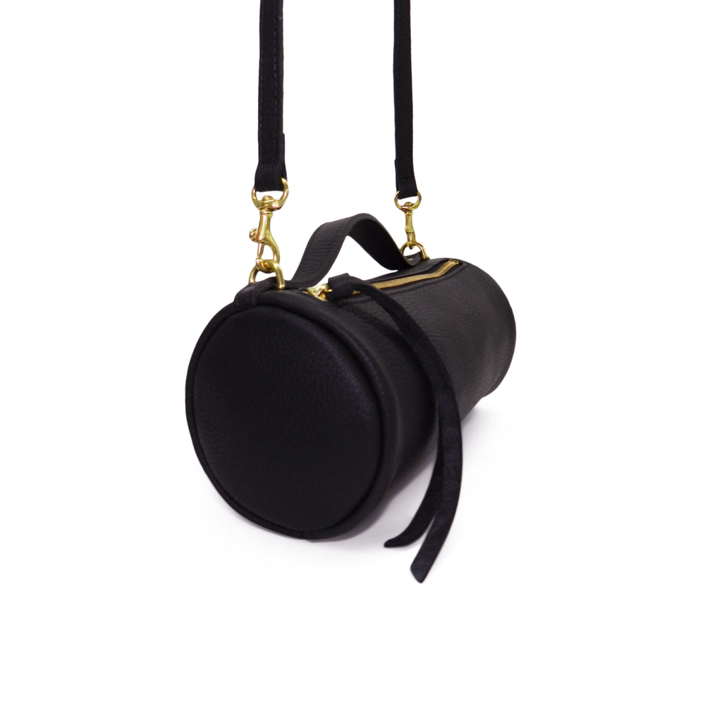 Mia Mini Crossbody Duffel in Black Pebble Cowhide