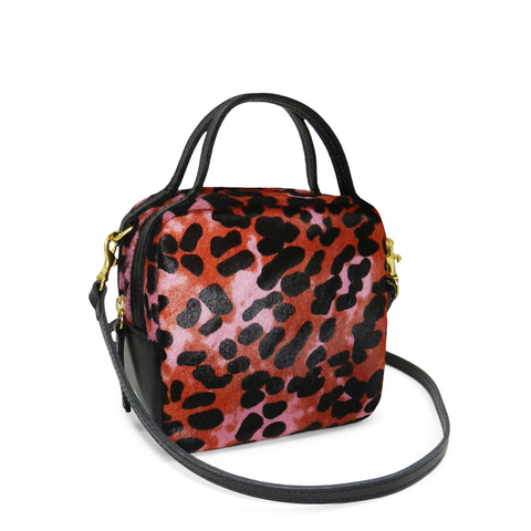 Mila Top Handle in Pink Multi Leopard Hair