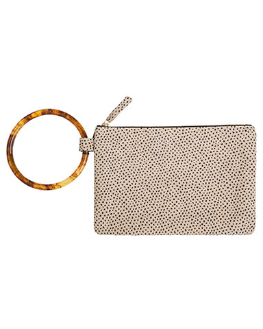 murphy bracelet clutch with resin ring in dotty cow leather