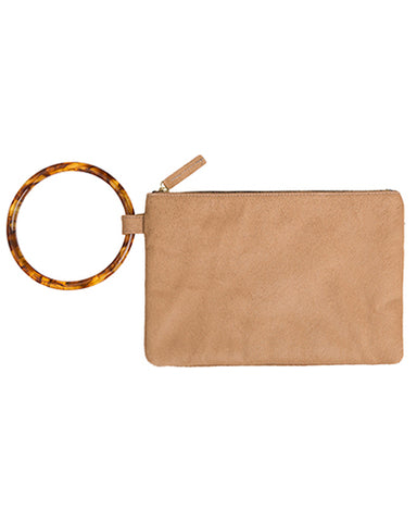 murphy bracelet clutch with resin ring in honey haircalf
