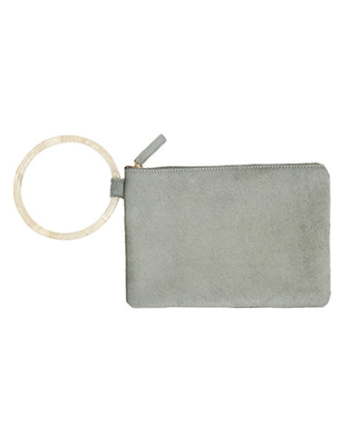 murphy bracelet clutch with frosted resin ring in sage haircalf