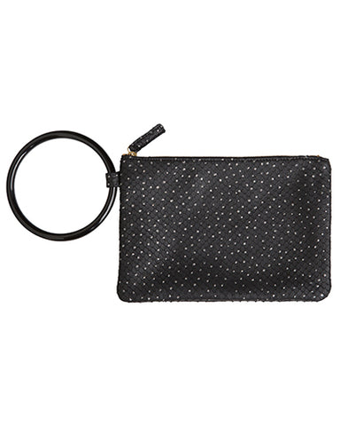 murphy bracelet clutch with black ring in silver dotty cow leather