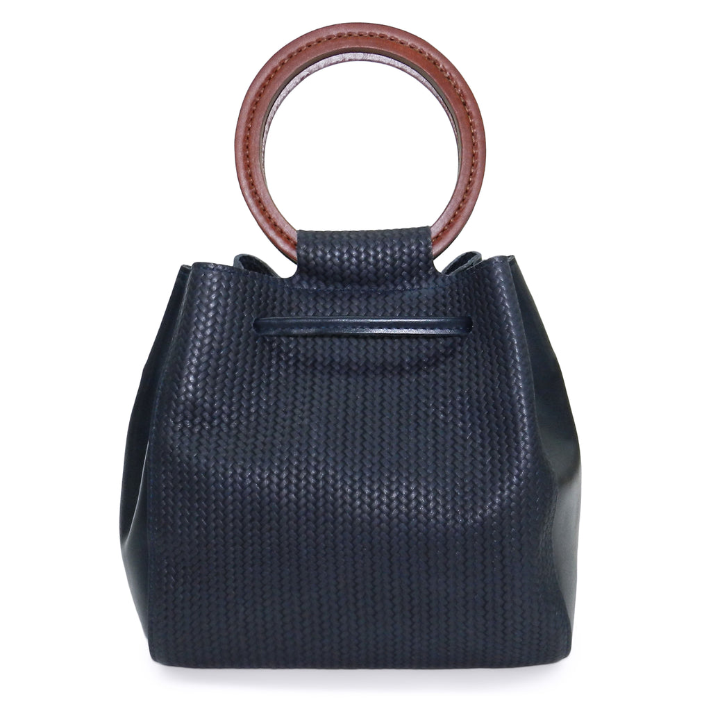 Carmella Drawstring in Navy Woven & Smooth Leather