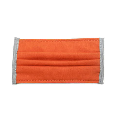 Pleated Cotton Twill Mask in Orange