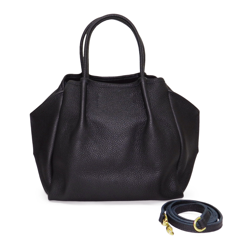 Pleated Zoe Tote in Black Pebble Cowhide