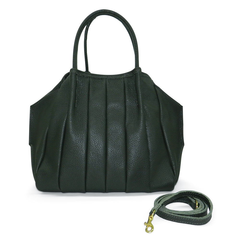 Pleated Zoe Tote in Forest Pebble Cowhide