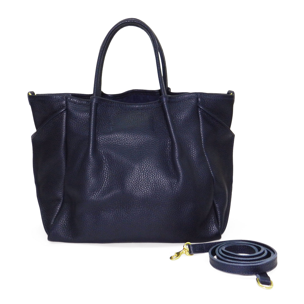 Pleated Zoe Tote in Navy Pebble Cowhide