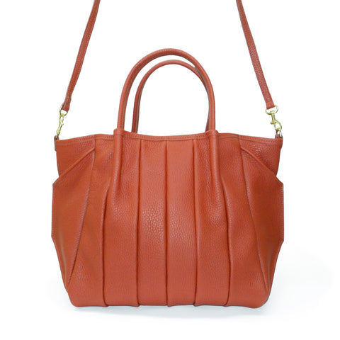 Pleated Zoe Tote in Rust Buffalo Cowhide