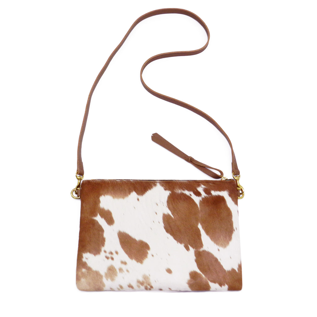 Queenie Crossbody in Brown & White Natural Haircalf- email for restock!