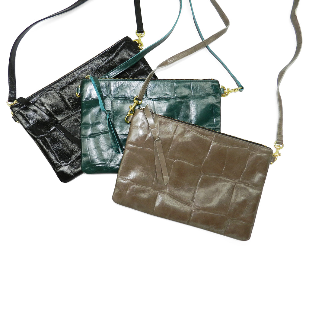 Queenie Crossbody in Taupe Grande Croco Cowhide