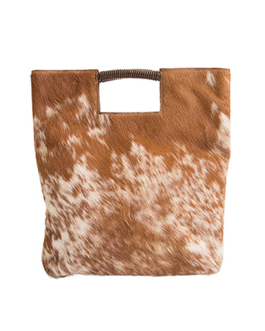 reid wrap handle tote in brown and white natural haircalf leather