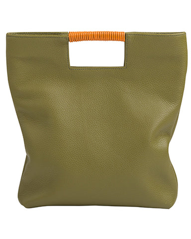 reid wrap handle tote in avocado pebble leather