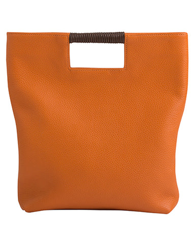 reid wrap handle tote in papaya pebble leather
