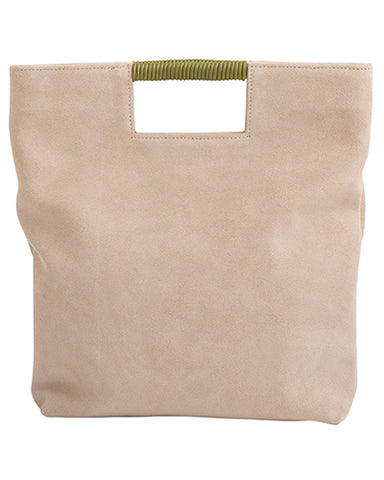 reid wrap handle tote in sand suede-FINAL SALE