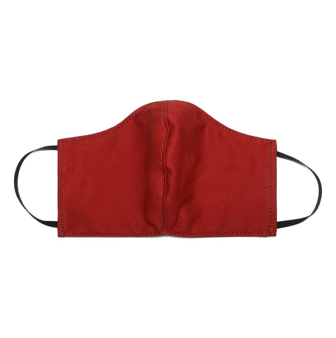 Women's Shaped Mask with Filter Pocket in Deep Red Cotton Twill