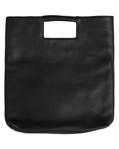 reid wrap handle tote in black pebble leather